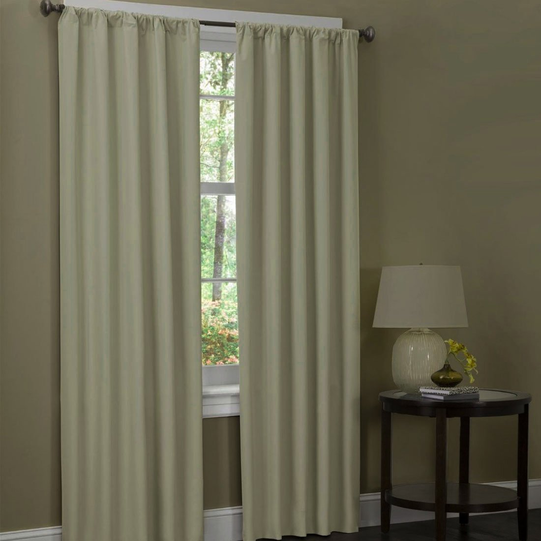 2 PANEL SOLID LINED THERMAL INSULATED BLACKOUT ROD POCKET