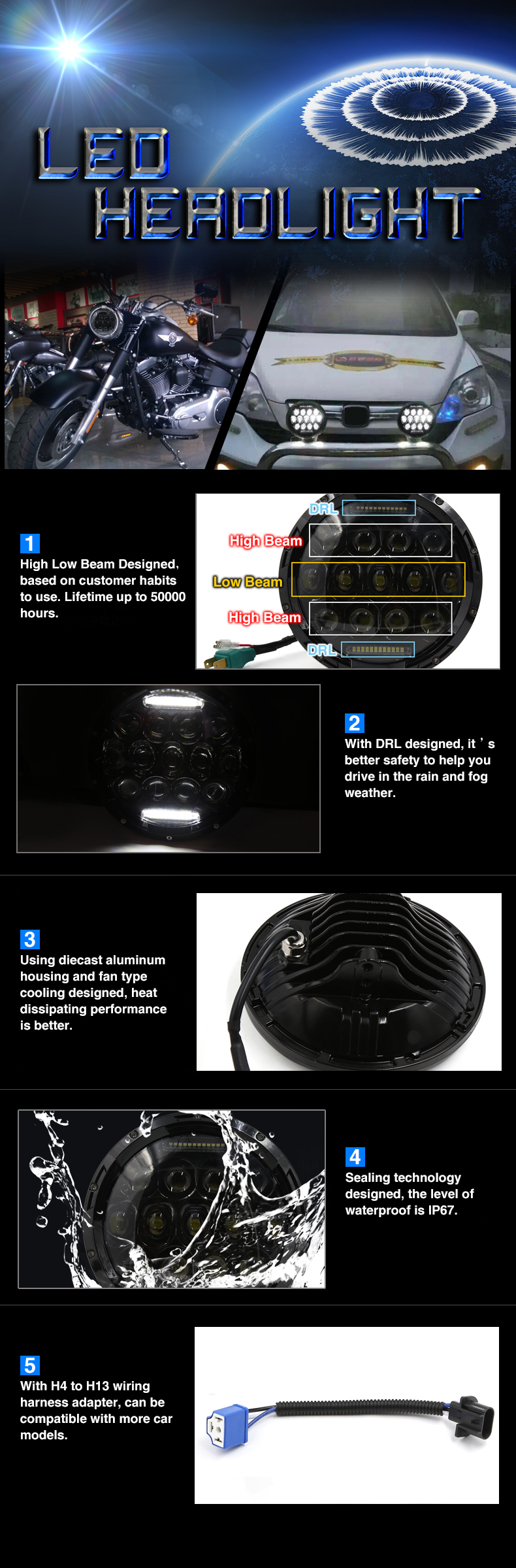 Buy Cheap 7 Black 75w Led Headlight H4 H13 Drl Hi Lo Beam For Jeep Wiring Harness Any