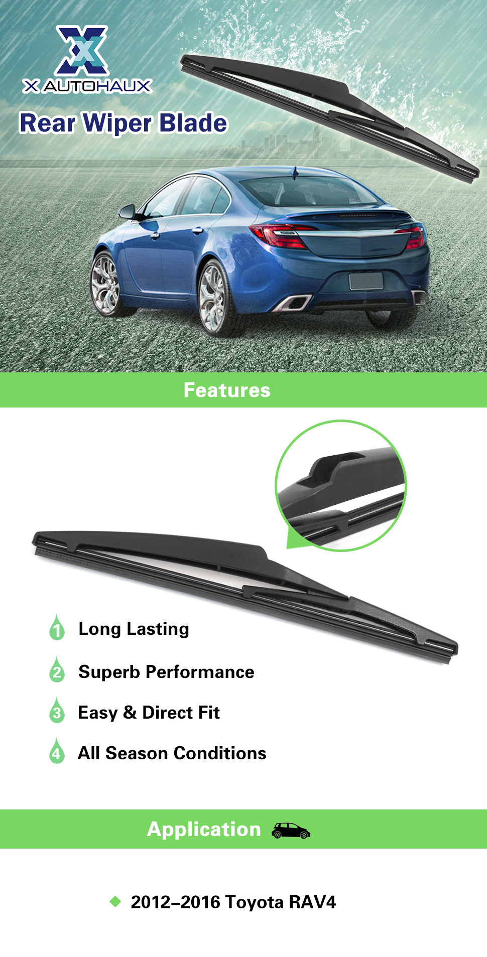x autohaux 250mm 10 inch rear window windshield wiper blade for toyota rav4. Black Bedroom Furniture Sets. Home Design Ideas