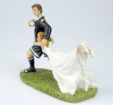 rugby couple wedding cake topper groom running rugby figurine wedding cake 19463