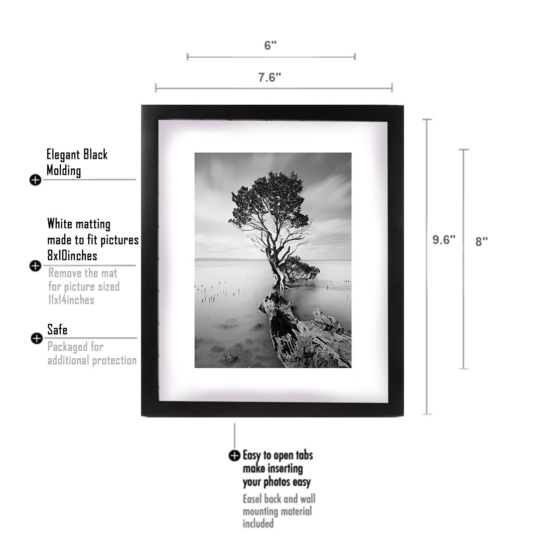 Wooden photo frame picture display modern wall mounted art home four frame size choices 5 x 7 inches 62 x 83 inches 7 x 9 inches 9 x 112 inches 12 x 15 inches jeuxipadfo Images