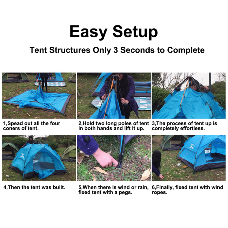 When you set up and take down the tent pls donu0027t pull it tight on the ground to protect the fabric and poles from damaged. Pls keep it away from the fire  sc 1 st  eBay & Automatic Easy Pitch Tent Outdoor Water Restraint Portable Camping ...