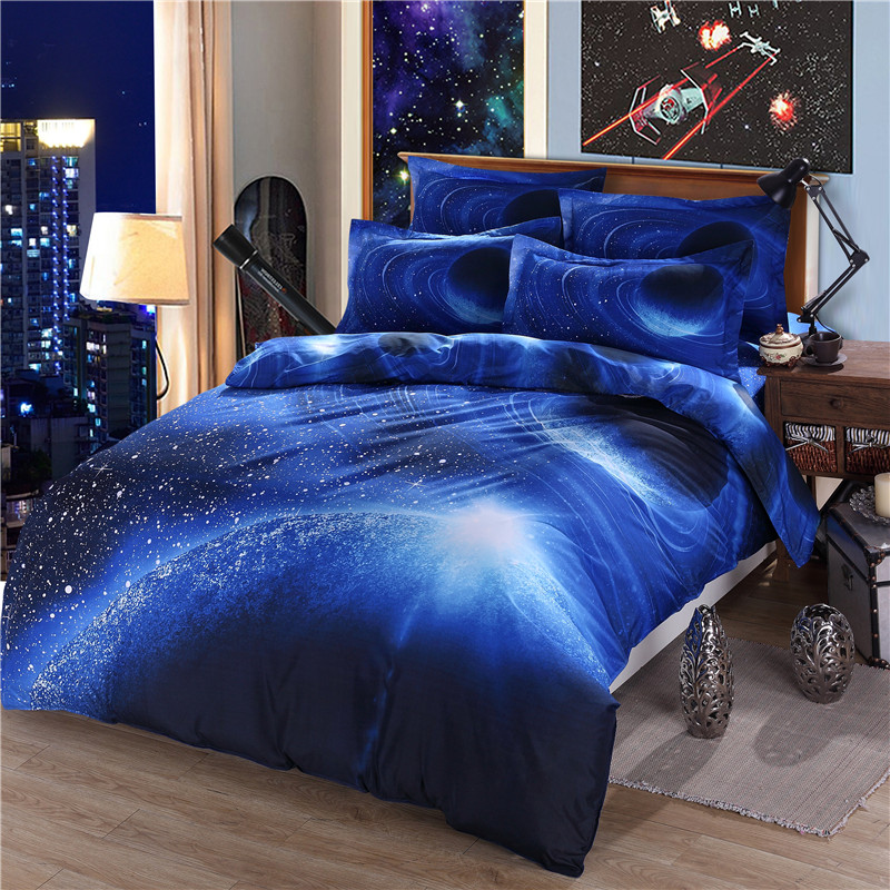 Galaxy Sky Cosmos Night Pattern 3d Printed Single Queen Size Bedding